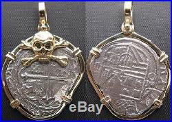 14k Gold Skull Bezel Pirate Treasure Coin Charm Pendant (Atocha Replica Jewelry)