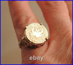 14k Gold Zodiac Coin Ring Cancer June July Birthday Sign Medal Sz 3.5 Vtg 2.65g