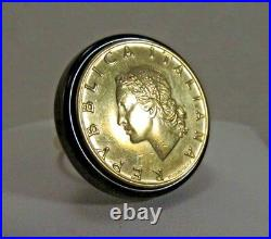 14k Gold and Onyx Italiana Coin Ring Size 10 SAVE $250 R341
