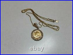 14k Gold pendant necklace 24 with 1/10 oz Krugerand coin