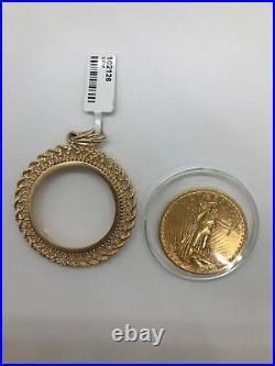 14k KARAT YELLOW GOLD ROPE COIN BEZEL for 1 OZ AMERICAN EAGLE or KRUGERRAND