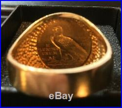 14k Solid Gold Men's Ring with 1912 $2.50 Dollar Gold Indian Coin