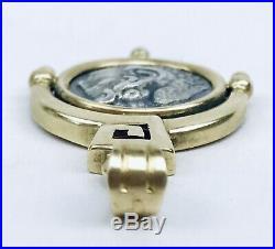 14k Solid Yellow Gold Ancient Macedonian Greek Roman Aaeean Apoy Coin Pendant