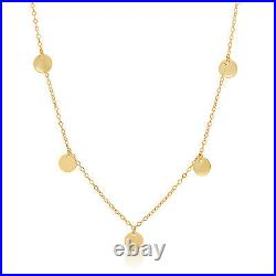 14k Solid Yellow Gold Coin Necklace / Disc Necklace. 16 Inches. Adjustable