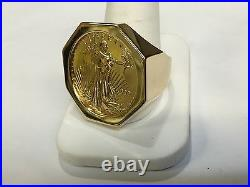 14k Solid Yellow Gold Hexagon Men's Ring for 1/2 OZ US American coin-Mount Only