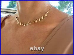 14k Solid Yellow Gold Necklace. Small Coin Choker. Small Disc Choker Necklace. A