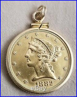 14k YELLOW GOLD 1882 UNITED STATES LIBERTY FIVE DOLLAR COIN BEZEL PENDANT