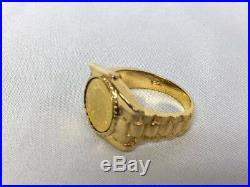 14k Yellow Gold 1865 22k Peso Maximiliano Imperio Mexicano Coin Ring Size 6.5