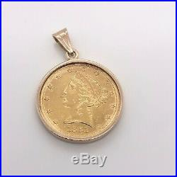 14k Yellow Gold 1882 United State Liberty Five Dollar Coin Bezel Pendant