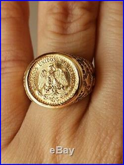 14k Yellow Gold 1945 Dos Mexican Peso 22k Coin Ring Size 7