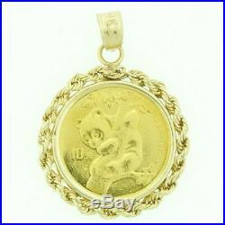 14k Yellow Gold 1996 1/10 Oz Gold Panda Coin Bezel Set Estate Pendant