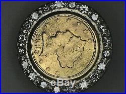 14k Yellow Gold 1Ct Tw Diamond Bezel 1903 2 1/2 Dollar Coin Ring Size 7 -18.7 Gm