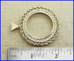 14k Yellow Gold 1.00ct Diamond 30mm Coin Rope Bezel Pendant