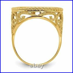 14k Yellow Gold 1/10oz American Eagle Polished Coin Ring (Coin Not Included) CR1