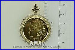 14k Yellow Gold 1.25tcw Diamond Bezel 1908 D $10 Gold Indian Head Coin Pendant