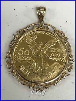 14k Yellow Gold 50 Mexican Pesos Centenario Coin Pendant Frame