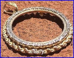 14k Yellow Gold Bezel Pendant for 1 oz. Coin + 40 Diamonds