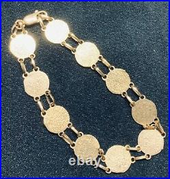 14k Yellow Gold Bracelet Te Amo I Love You In Spanish Coin Style 7 inch 7g Gift