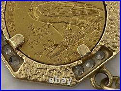 14k Yellow Gold Charm Bracelet with Diamonds & 22k 1911 $2.50 Gold Coin 23.7 dwt