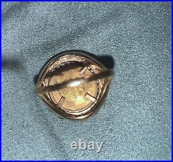 14k Yellow Gold Chinese 5 Yuan 24k Panda Coin Ring Size 8