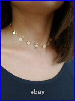 14k Yellow Gold Choker, Solid Gold Necklace, Coin Choker, Adjustable 14k Necklace