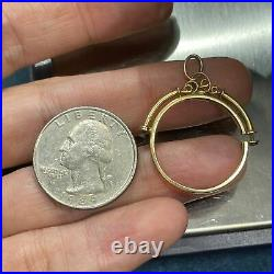 14k Yellow Gold Coin Holder Bezel Pendant