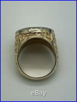 14k Yellow Gold Diamond 1945 Dos Mexican Peso 22k Coin Nugget Ring Size 8.25