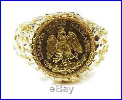 14k Yellow Gold Dos 2 Mexican Pesos Coin Ring 6.8g