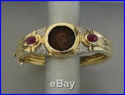 14k Yellow Gold Emperor Licinius Roman Coin Bracelet W Diamonds & Rubies 39 Gr