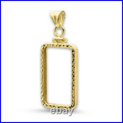 14k Yellow Gold Faceted Screw Top Coin Bezel 1 oz Pamp Suisse Fortuna Gold Bar