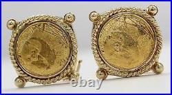 14k Yellow Gold Panda Earrings with 0.999 24k Chinese Panda Coins