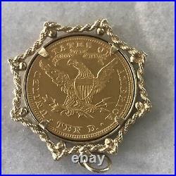 14k Yellow Gold Pendant 22K 1908 Lady Liberty Gold Coin (PB)