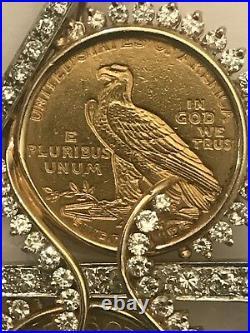 14k Yellow Gold Pin Pendant 2 $5 1893 1915 Gold Coin 3.7 Ct Tw Diamonds 33.4 Gr
