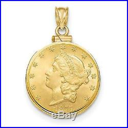 14k Yellow Gold Polished Screw Top Bezel Coin Holder for Old $5 US Coin