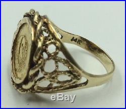 14k Yellow Gold Ring Size 7.5 with 1/20 Oz. 999 Gold Chinese Panda Coin 1988