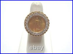 14k Yellow Gold Ring With 22k Gold 1/10 Oz. American Eagle Coin