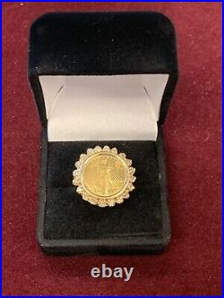 14k Yellow Gold Ring with Halo of Diamonds around 1/10th oz $5 Gold Eagle Coin