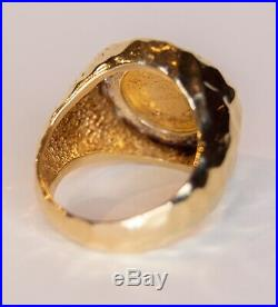 14k Yellow Gold and Diamond Ring with 1853 Liberty Head Coin Size 8.5