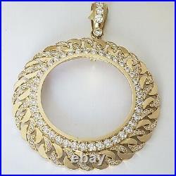 14k solid gold 4 Prong Curb link 50 pesos Santanario Coin Bezel Frame pendant