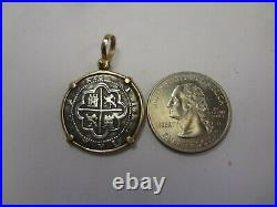 14kt Gold Bezel Wrap Around 2 Reale Atocha Shipwreck Coin Pendant Mel Fisher