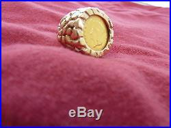 14kt Nugget Style Ring With 1862 $1 Gold Coin-not Scrap