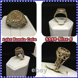 14kt Solid Yellow Gold Panda Coin Ring