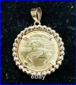 14kt Yellow Gold Beaded Bezel & 22kt 1/4oz American Gold Eagle Coin I883