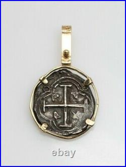 $1500 14k Yellow Gold CRUSADES Spanish Reale Cob Genuine Ancient COIN Pendant 5g