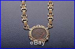 $15,000 1ct VS G Diamond Ruby Ancient Genuine COIN 18k Gold 16 Necklace 89g