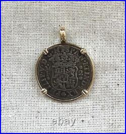 1737 Spanish 2 Reale Silver Coin Set In 14k Yellow Gold Pendant