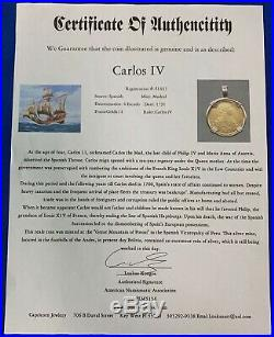 1791 Spain 4 Escudos Gold Coin in 14K Yellow Gold Bezel Carlos IV