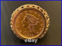 1853 $2.50 2 1/2 Liberty 22 K Gold Quarter Eagle Coin 14 K Men's Ring Size 11