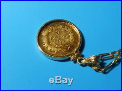 1859 THREE DOLLAR 21k Gold Coin on 14k Bezel & Chain
