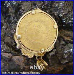 1875 22K 20 Francs Angel Rooster Coin 14k Gold Vine Bezel Pendant French Antique
